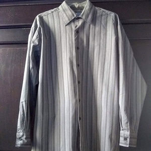 Kenneth Cole Reaction Gray Striped Dress Shirt